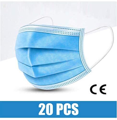 JHLP 3-laags verwijderbare gezichtsbeschermer met elastische oorbel voor outdooractiviteiten schoonheidssalon blauw-20 stuks