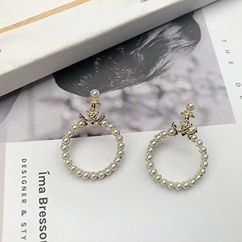 Anker parel oorbellen vrouwelijke lente eenvoudig temperament design oorbellen Japan en Zuid-Korea