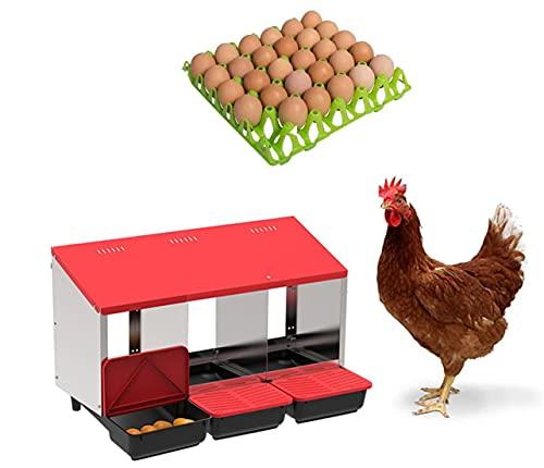 Nido per galline ovaiole allevate a terra, con 3 scomparti, verniciato e cassetti estraibili per la...