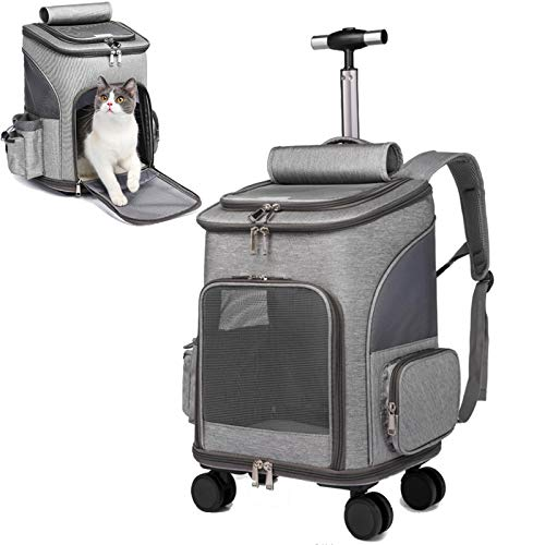 Wheeled Pet Carrier Backpack Pet Stroller, Travel Carrier, Car Seat for Dogs Cats Puppy, Comfort Cat Backpack Removable Rolling Wheels–Mesh Ventilation Windows, Storage Pockets (Grey)
