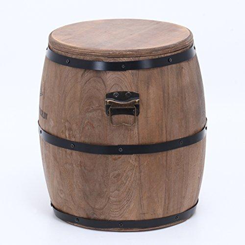 不二貿易スツール収納付き高さ30cmブラウン樽型取っ手付き31883