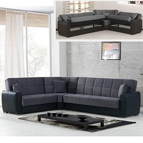 Sofá cama esquinero contenedor 305 x 238 cm piel sintética microfibra chaise longue reversible derecha modelo Miriam