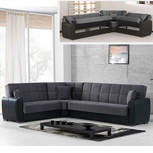 Sofá cama esquinero contenedor 305 x 238 cm piel sintética microfibra chaise longue reversible derecha izquierda
