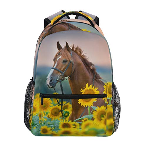 Cute Rainbow Flower Horse Backpacks for Girls Elementary School Bookbag 3rd 4th 5th Grade