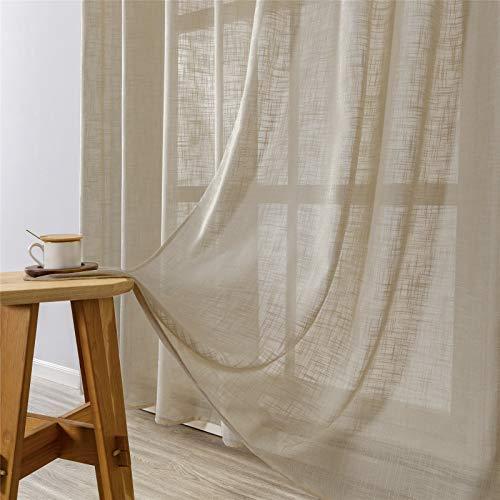 MRTREES Gardinen kurz 2er-Set LeinenVorhang im Modernen Stores Gardinen Schals Braun 225×140 (H×B) für Wohnzimmer Schlafzimmer Kinderzimmer