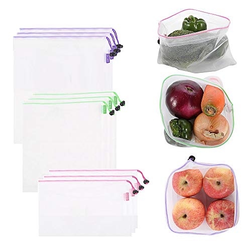 9 Pack Reusable Produce Bags, Mesh Produce Bags 3 Sizes Washable and See-Through Mesh Bags for Grocery Shopping, Fruits and Vegetables, with Colorful Tare Weight Tags, Toxic Free & Zero Waste