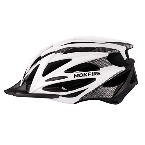 MOKFIRE Adult Bike Helmet CPSC&CE Certified with Rechargeable USB Rear Light, Adjustable Mountain & Road Cycling Helmet with Detachable Visor, Bicycle Helmets for Men and Women - White Black
