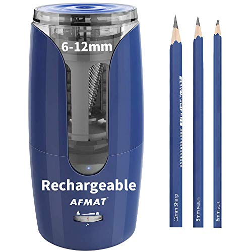 Colored Pencil Sharpener, Large Pencil Sharpener, Artists Pencil Sharpener, Cordless Rechargeable Electric Pencil Sharpener for 6-12mm Pencils, Super Quiet Long Lasting Fat Pencil Sharpener, Blue