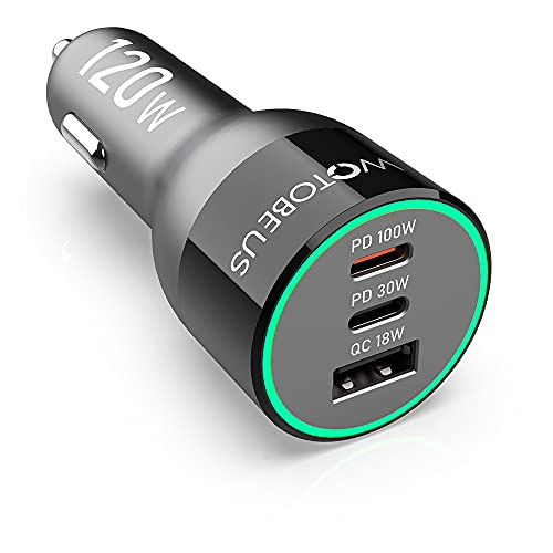 WOTOBEUS - Caricatore USB C per auto, 120 W, 3 porte, PPS, PD, 100 W, 30 W, QC5 Type C, Super Fast Charging 18 W, per iPhone 12, 11 Pro Max, Samsung Note 20, 10, S21 pixel, iPad e MacBook