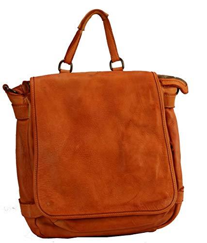BZNA Anna Orange - Zaino di design, in pelle, da donna, borsa a mano, borsa a spalla in nappa