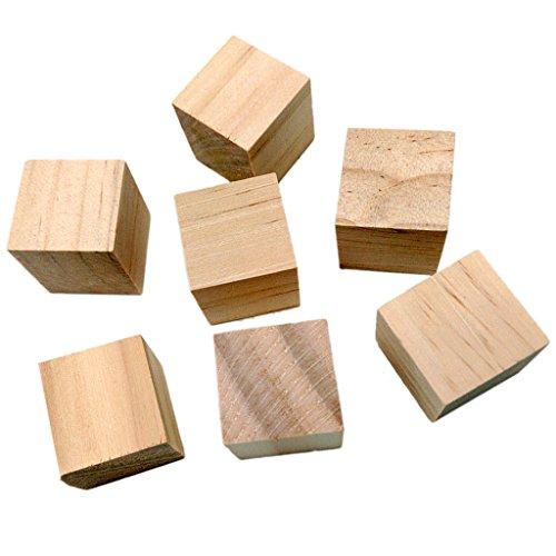 20pcs Naturel Cubes en Bois Craft Qure 20mm DIY Blocs Artisanat Jouet Cadeau