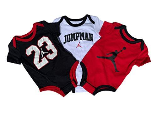 Jordan Baby-Set 3 Bodys Neu Boy´s (3-6 Monate 56-62cm, Weiß/Rot/Schwarz)