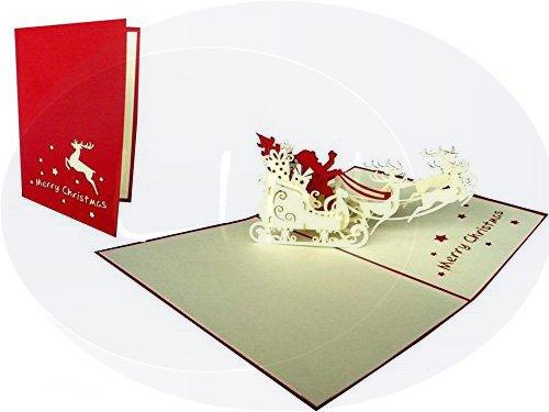 LIN POP UP Karte 3D Grußkarte Weihnachtskarten Weihnachtsmann auf Rentiere(#419)