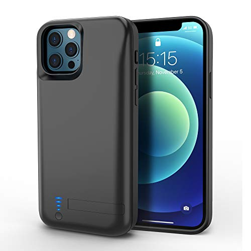 Zttopo Battery Case for iPhone 12/12 Pro, 5000mAh Portable Protective Charger Case Rechargeable Extended Battery Pack Kickstand Charging Case for iPhone 12/12 pro 6.1 inch