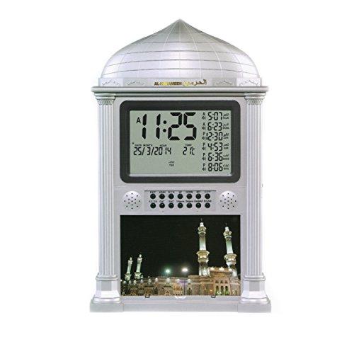Precision Works Azan Alarm Clock - Islamic Digital 5 Namaaz Reminder Wall Clock (Silver)