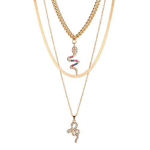 Collar con colgante de serpiente multicapa de metal para mujer, cadena de clavícula, joyería de aniversario, cumpleaños, día de la madre, joyería para mamá, ella para esposa