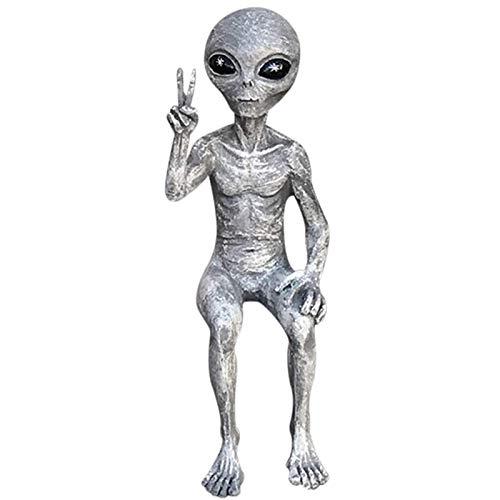 clacce Alien Extra Terrestrial Statue, Weltraum Alien Dude und Babe Shelf Sitters Statue Figur für Home Indoor Outdoor Dekoration (Gray-Man, L-20CM)