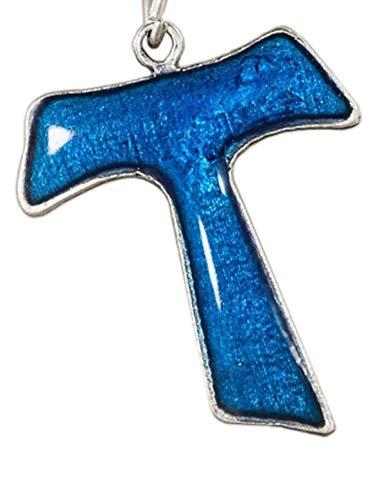 Eurofusioni Croce Tau Azzurro placcato argento. Ciondolo ideale per collane, bracciali e Bomboniere fai da te cresima, comunione e Battesimo/nascita bambino - Ciondolo Charm h 3 cm - 10 pezzi