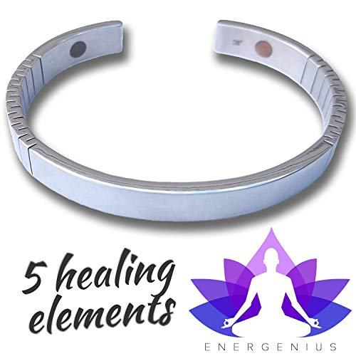 ION Bracelet - 5 Element Magnetic Bracelet - Arthritis Pain Relief - Back, Joint, and Muscle Pain - Ruduce Migraines - Stainless Steel - Natural Health