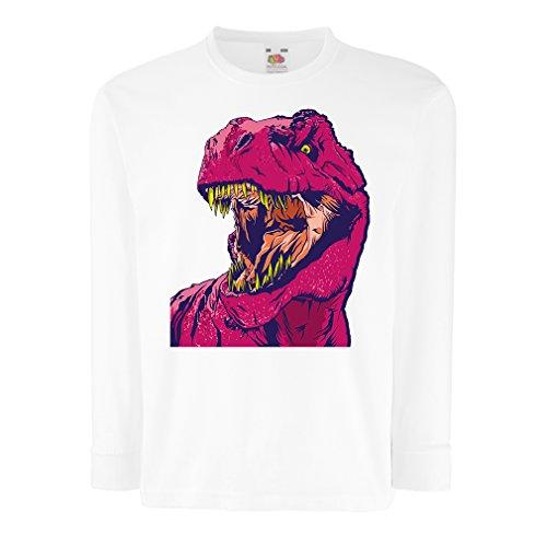 lepni.me N4348D T-Shirt pour Enfants avec des Manches Longues Dino (9-11 Years Blanc Multicolore)