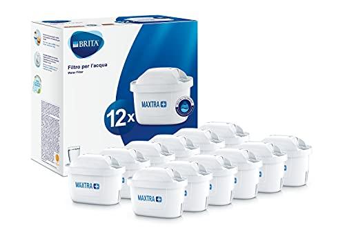 Brita Maxtra 1025126 Lot de 12 filtres plus pour carafe filtrante, plastique, blanc, 5.7 x 10 x 7.8 cm