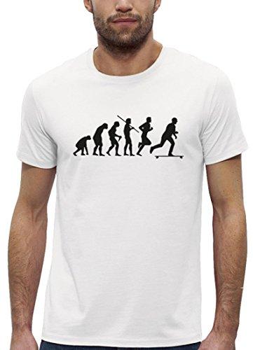 Longboarder Premium Herren T-Shirt aus Bio Baumwolle Evolution Longboard Stanley Stella, Größe: L,White