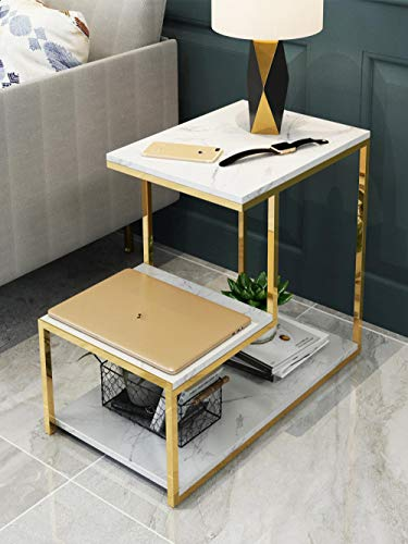 Longxs Coffee Table Organizer,Double-Layer Marble Coffee Table, Creative Sofa Side Table, Corner Table Simple Iron Small Table Bedside Table-Style 3 (55 * 65 * 45)