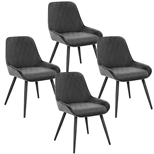 ELIGHTRY 4 Stücke Esszimmerstühle,Retro Küchenstuhl Wohnzimmerstuhl Sitzfläche aus Samt Retrostuhl mit Metallbeine Besucherstuhl Stuhl für Esszimmer Wohnzimmer Küche Dunkelgrau