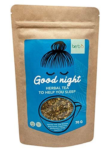 Herbis Good Night Loose Leaf Herbal Tea | Sleep and Night Time Tea | 7 Herbs (70 g)