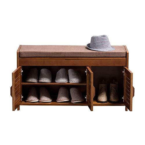 Jkckha Zapatero Cojín desmontable con compartimento de almacenamiento oculto zapatero Banco Zapato armario rack de zapato de madera (color, tamaño: 90x32.5x49cm) Adecuado para corredores, salas de est