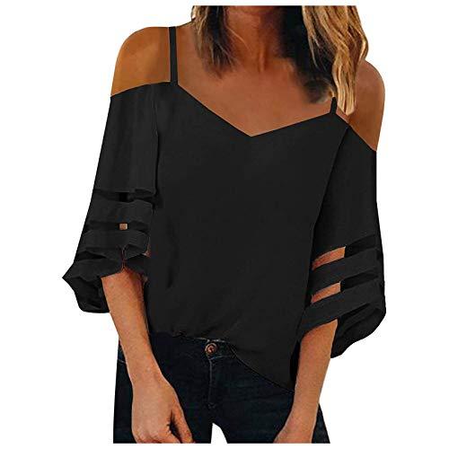 Camiseta de verano para mujer, elegante, transparente, sin hombros, manga corta, cuello en V, patchwork, fitness, deporte, básica, túnica, adolescente, niña, negro B, XXL