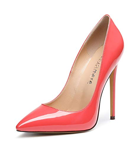CASTAMERE Damen High Heels Spitzen Zehen Stilettos Slip on Pumps 12CM Rot Teufel Lackleder Schuhe EU 43