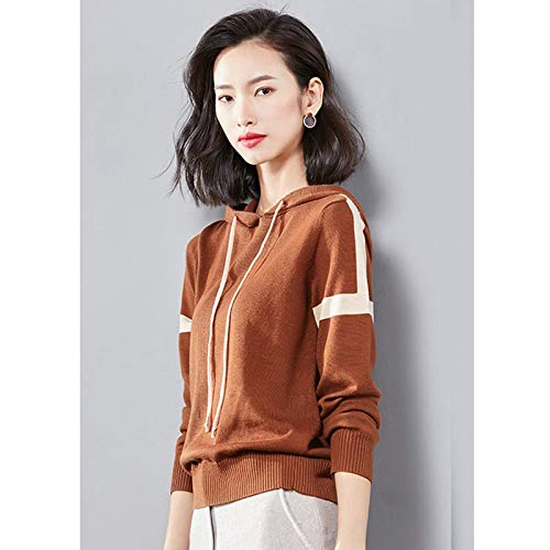 Sweatshirt Sweater Spring Autumn Women Patchwork Knitted Pullovers Fashion Hooded Loose Long Sleeve Casual Female Hoodies S Coffee