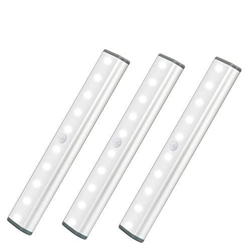 10-LED Detector De movimiento, Luz De Armario, Luz Nocturna Recargable Por USB, Luz nocturna Para Armario, Iluminación De cocina,Iluminación De armario, Luz Blanca-3 Paquetes