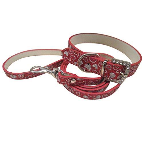 Balacoo Alla hjärtans dag hundhalsband hund händer gratis linne glitter hjärta krage för valpar hund (röd)
