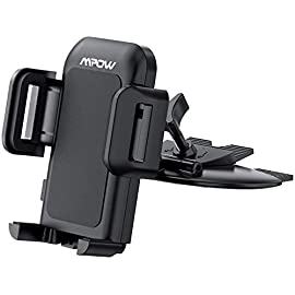 Mpow 051 Car Phone Mount, CD Slot Car Phone Holder, Car Mount with Three-Side Grips and One-Touch Design Compatible iPhone 11/11Pro/11Pro Max/Xs MAX/XR/XS/X/8/8Plus, Galaxy S10/S10+/S10e/S9/S9+/N9/S8 6 CONVENIENT FOR GPS NAVIGATION AND CALL- MPOW car phone mountsare essential to keep car drivers safe on the road by allowing drivers to keep both hands on the wheel and keep an eye on GPS navigation. The cell phone car mounts reduce the likelihood of accidents that can harm you and your passengers. PHONE COMPATIBILITY-The arms extend from 1. 8in. /4. 5cm to 3. 8in. /10cm. The 0. 6in. (1. 5cm) deep arms work well to hold models from 4. 7''~6. 8'', even with a thin case on, including but not limited to the new iPhone 11 Pro Max/11 Pro/11/Xs Max/XR/XS/X/8 Plus/8/7 Plus/7; Galaxy Note10+/Note10/S10/S10e/S10+/S9+/S9/Note 9/Note 8/S8; Pixel/Nexus; LG; OnePlus; Xiaomi; Moto and more. CD SLOT MOUNTS-Does your car CD player go unused? Make it functional again with MPOW phone holder. The base slips into your CD slot; then, it expands and locks into place, so your phone is always safe and stable. NOTE: Flip over to install for wider compatibility with different cars.