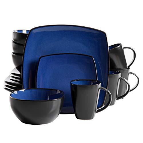 Gibson Elite Soho Lounge Reactive Glaze Stoneware Dinnerware set, Square, Sapphire