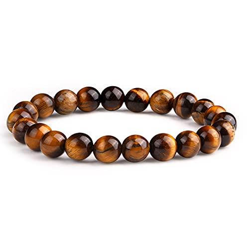 Crystal Vibe Tiger Eye Bracelet for Men Women 8mm - Elastic Adjustable Crystal Bracelet for Anxiety Relief, Spiritual Healing, Energy Provider - Beaded Bracelet for Gift