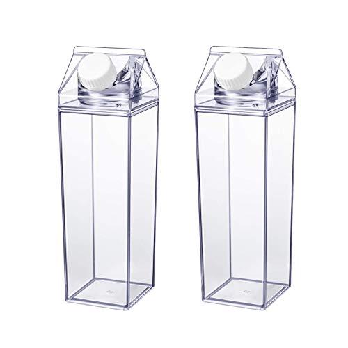 Cabilock 2 Paquetes de 500ML Botella de Agua de Cartón Botella de Plástico Transparente de Cartón de Leche Reutilizable Botella de Contenedor de Agua de Leche para Ciclismo Deportes