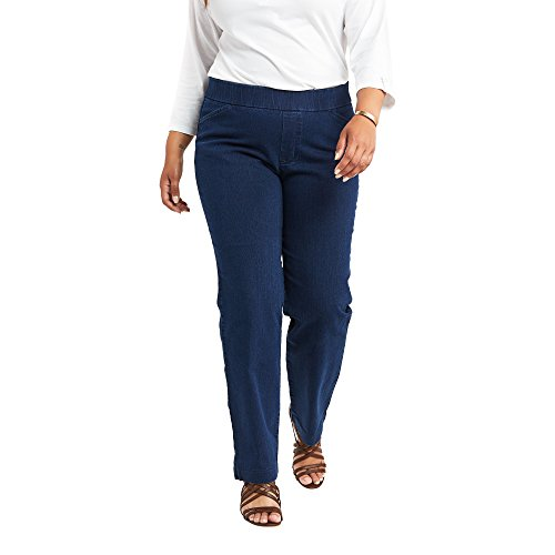 Chic Classic Collection womens Easy Fit Elastic Waist Jeans, Starlite, 22 Petite US
