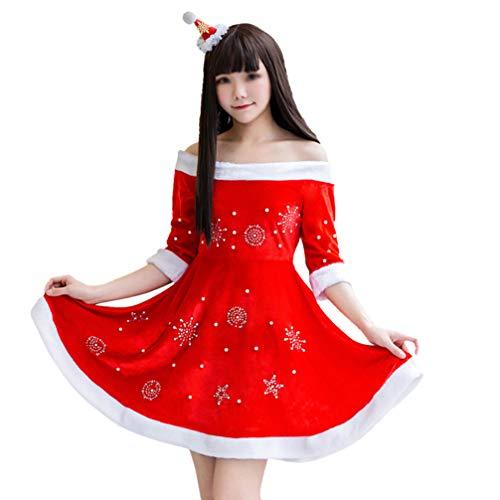 Abaodam Disfraz de La Seora Claus de Santa Navidad Vestido de Fiesta de Princesa Traje de Cosplay de Fiesta con Mangas Sombrero de Astas de Reno