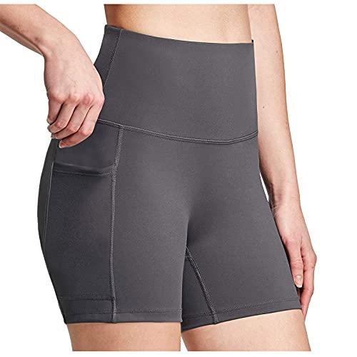 Pantalones cortos de yoga para mujer con bolsillos, leggings de entrenamiento para mujer, cintura alta, pantalones cortos de yoga