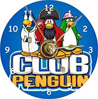Club Penguin CD Size Clock with Captain Rockhopper - EPF Director Aunt Arctic - Gary the Gadget Guy - Red Puffle - Colorful and Perfect Gift