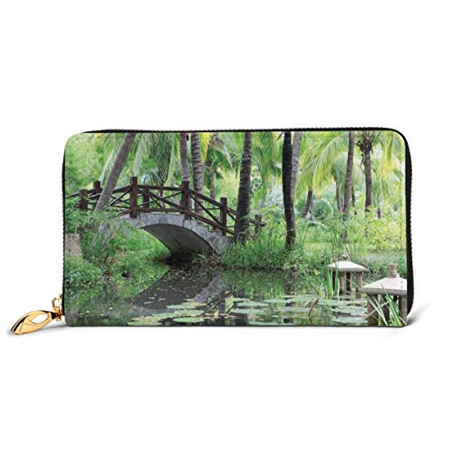 Women's Long Leather Card Holder Purse Zipper Buckle Elegant Clutch Wallet, Green Landscape In South China Palm Trees and Bushes Lush Growth Nature,Sleek and Slim Travel Purse