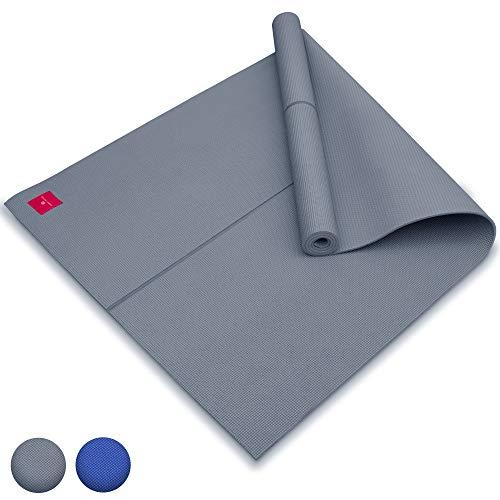 SHANTI NATION - Shanti Mat XXL - Estera para Yoga Extra Grande - 200 * 100 * 0.6 cm - amistosa con el Ambiente - marcación de alineación - Grey