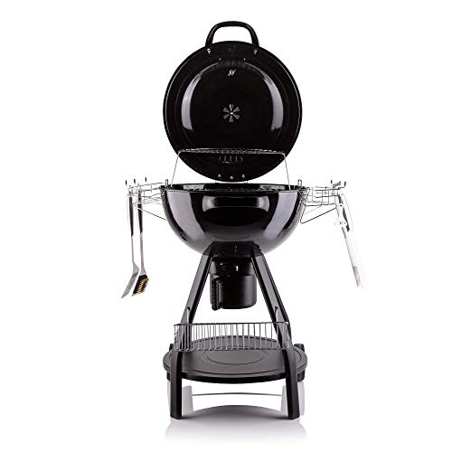 Fire Mountain Large Kettle BBQ Charcoal Grill with Cover & Tools | Warming Rack and Storage Basket | 57cm Diameter…
