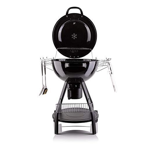 Fire Mountain 57 cm Holzkohlegrill mit Abdeckung, XL tragbarer Grill mit Zubehör-Werkzeug-Set, Warmhalterost und Aufbewahrungskorb, zum Kochen im Freien