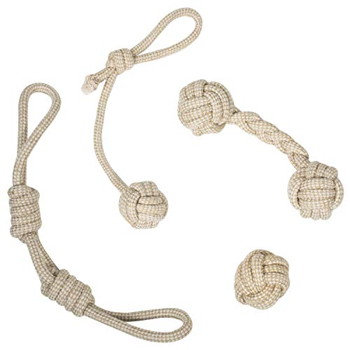 Franklin Pet Supply- Natural Rope Dog Toys - 4 Pack - Hemp- Play Fetch- Tug of War - Dog Teething - Puppy Chew - Puppy- Teething Toy - Tug Rope - Tug Toy