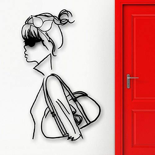 Vinyl Wandaufkleber Cool Girl Fashion Style Schlafzimmer Home Decor Damenbekleidung Store Schaufenster Wandbild Shopping Decal 57 * 34cm