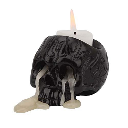 Skeleton Candle Holder,Novel Black Skull Candle Holder Resin Candlestick Crafts Decor for Home and Office